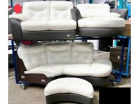 New - DFS Leather 2-piece Corner Sofa, Cuddle chair & footstool, RRP £3995