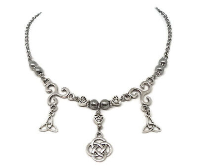 Celtic Necklace with knots and Triskele - Celtic Jewelry with Hematite Beads