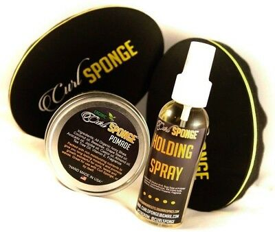 Curl Sponge 2.0&3.0- Natural Pomade - Holding Spray - Gift Set Hair Care Kit 4pc for sale  Shipping to India