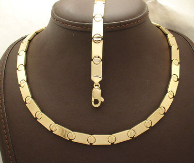 All Shiny Screw Stampato Bracelet Necklace Set 14K Yellow Gold Clad Silver 925