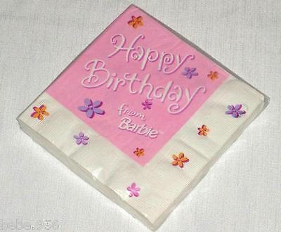 NEW  ~BARBIE~16 LUNCH NAPKINS HAPPY BIRTHDAY FROM BARBIE  PARTY SUPPLIES](Barbie Napkins)