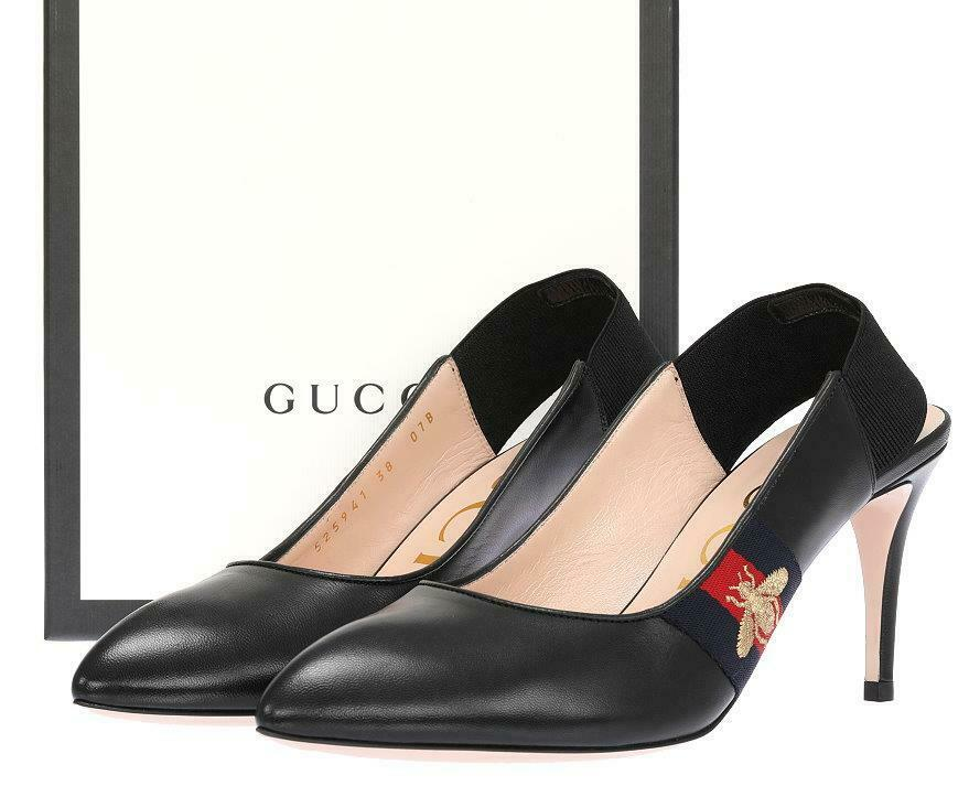 NEW GUCCI BLACK LEATHER WEB BEE SLINGBACK MID-HEEL PUMP SHOES 37/US 7