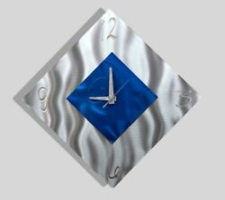 Jon Allen Metal Art Wall Clock Modern Contemporary Silver Blue Accent Decor