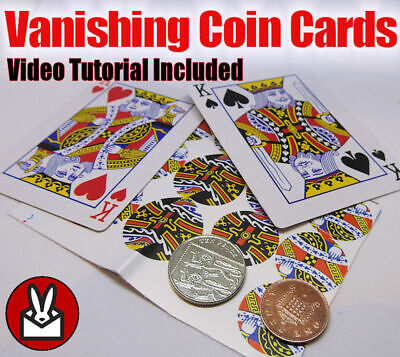 OIN CARDS VANISH MAGIC TRICK GIMMICK SHIM CARD & VIDEO HOWTO (Magic Coin Tricks)