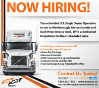 Scheduled Runs Single Owner Operators & Drivers! Sign on bonus!