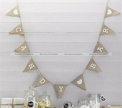 Hessian Burlap Bunting Banner Flags Candy Bar Happy Birthday Baby Shower
