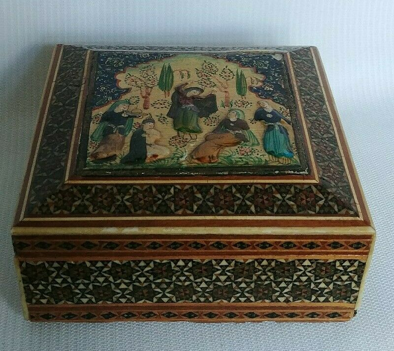 """Vtg PERSIAN Inlaid Hand Painted Wooden Jewelry Box 4""""×4""""×2.5"""""""