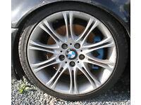 "BMW E46 E90 E92 18"" M Sport MV2 Genuine Staggered Alloy Wheels & Tyres"