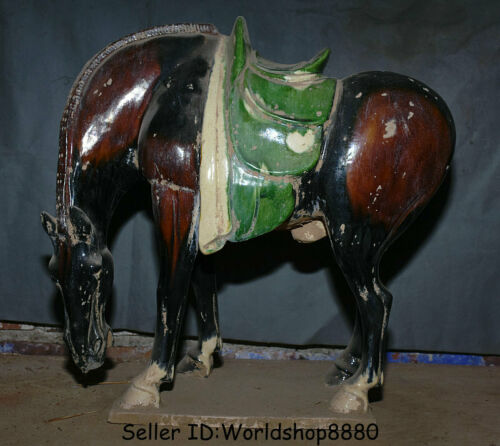 """17.6"""" Antiquity Old China Tang San Cai glaze Pottery Dynasty Stand Horse Statue"""