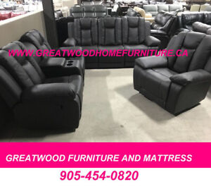 3 PCS AIR LEATHER RECLINER SOFA SET FOR SALE $1199 ONLY....