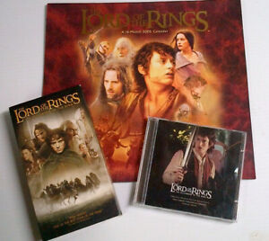 Lord of the Rings Set of VHS Movie CD Sound Track and Calendar