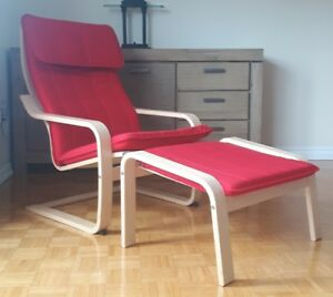 IKEA Poang Chair with Ottoman