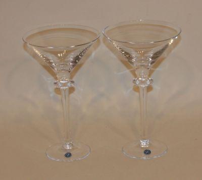 Pair Signed Steuben Poland Crystal 7-3/4 Inch Nimbus Pattern Martini Glasses