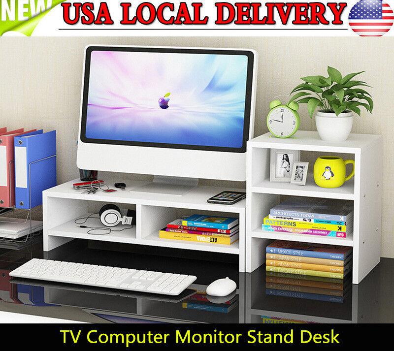 Computer Monitor Riser Desk Table TV Stand Shelf Desktop Laptop Shelves US