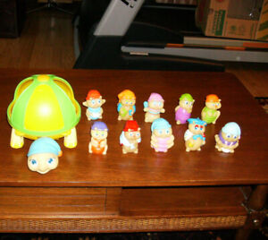 Collection of Vintage Glow Worm Finger Puppets and Turtle