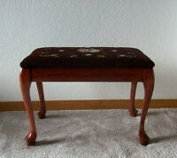 Antique Footstool, Embroidered Top