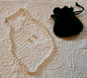 Cultured Pear Necklace and earrings.