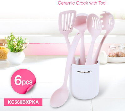 1SET Kitchen Aid 6pcs Ceramic Crock with Pink Tools cooking utensils