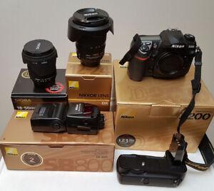 Nikon D200 w/ Grip, SB800 Flash, 18-50 F2.8 & 12-24 F4.0 Lenses