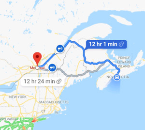 Drive from Halifax to Montreal Tuesday April 16th