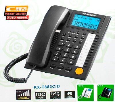 TELEFONO FIJO CON CABLE TECLAS ALTAVOZ PANTALLA GRANDE IDENTIFICADOR MEMORIAS
