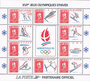 Feuillet de 10 Timbres Olympique France 1992 Albertville