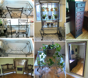 Dining set, glass shelves, coffee table, plants, pots, + more