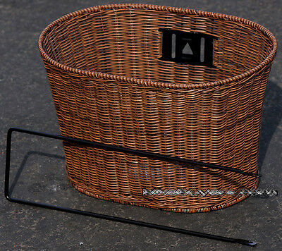 Brown Oval Basket - Fito Oval Dark Brown Wicker Mounting Basket for Beach Cruiser Bikes