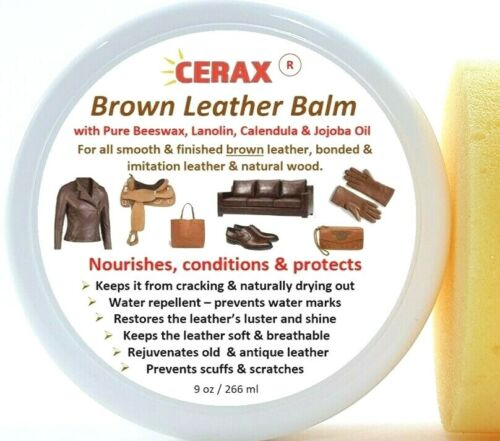 CERAX Brown leather balm restores, protects Handbags, Shoes, Furniture, and more