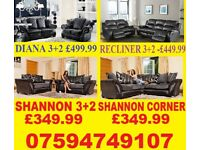 BRAND NEW LEATHER OR FABRIC 3+2 OR CORNER SOFA + DELIVERY