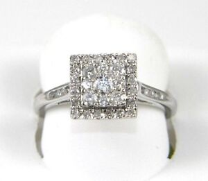 Fine Square Cluster Diamond Engagement Ring w/Accents 14k White Gold .56Ct
