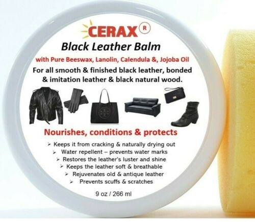 CERAX Black Leather Balm polish, restores, Jackets, Furniture, Shoes, and more..