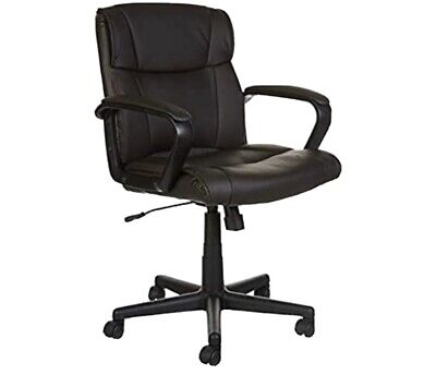 Classic Leather-Mid-Back Office Chair with Armrest - BROWN FREE SHIPPING