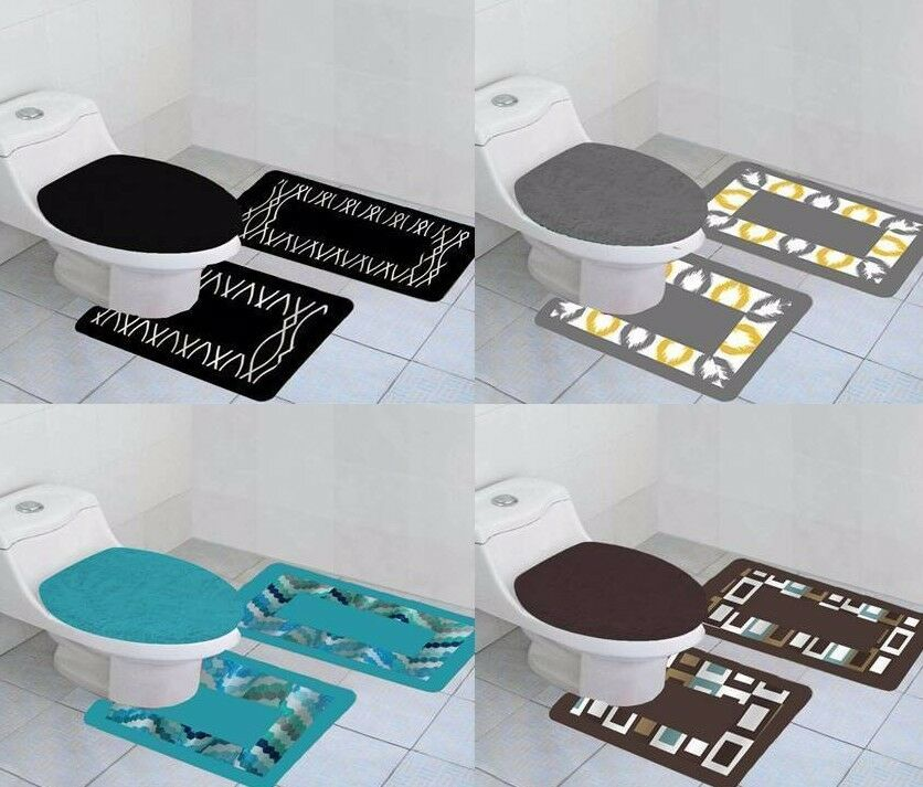 3-PC PRINTED BANDED BATHROOM BATH MAT SET ABSORBENT NON-SLIP