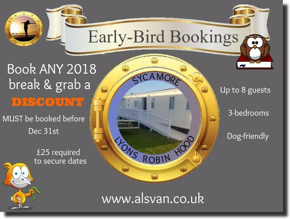 2018 DISCOUNT: SYCAMORE: LYONS ROBIN HOOD, RHYL, N.WALES: SLEEPS 8 MAX, DOG-FRIENDLY