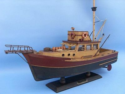 "JAWS ORCA 20"" Wooden Model Boat FULLY ASSEMBLED Shark Fishing Movie Ship - NEW"