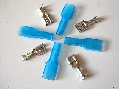 U.s. Seller- Female Spade Crimp Terminal 4.8mm Connector With Blue Case-20pcs