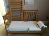 Oak cot bed from John Lewis + pocket spring mattress from Mothercare