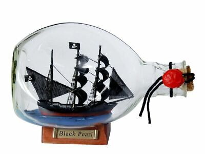 Wooden Pirate Ship (Black Pearl Pirate Ship in a Glass Bottle 7