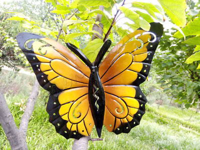 Metal Butterfly Fence Hanger Wall Art Yard Outdoor Lawn Garden Decor 19*24cm