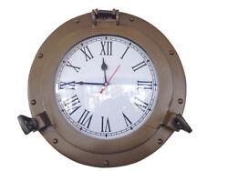 Ship's Cabin Porthole Clock Antique Brass Finish 12 Aluminum Hanging Wall Decor