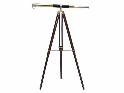 "Vintage Brass Telescope On Wooden Tripod Maritime Nautical 60"" Tall"