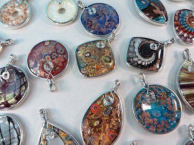 *US Seller*wholesale lot of 5 handmade handblown glass pendants