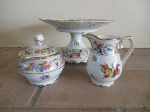 Vintage Schumann Dresden Hand Painted Pierced Reticulated Compote  Sugar Creamer