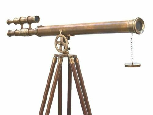 Antique Nautical Floor Standing Brass 39 Inch Telescope With Wooden Tripod Stand