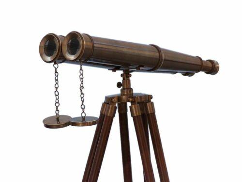 Floor Standing Admirals Antique Brass Binoculars with Wood Stand 18 Inch