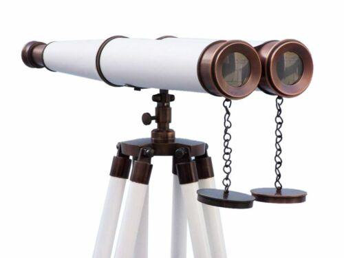 Floor Standing Admirals Bronzed With White Leather Binoculars 18 Inch