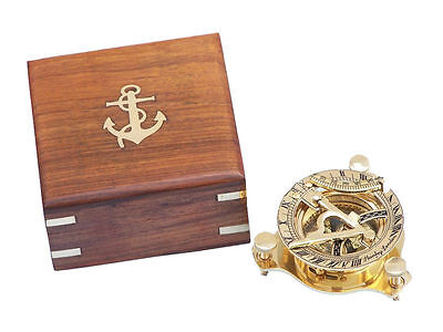 """Brass Sundial compass 3"""" Nautical Gift with Beautiful wooden Box USA Seller!!!"""