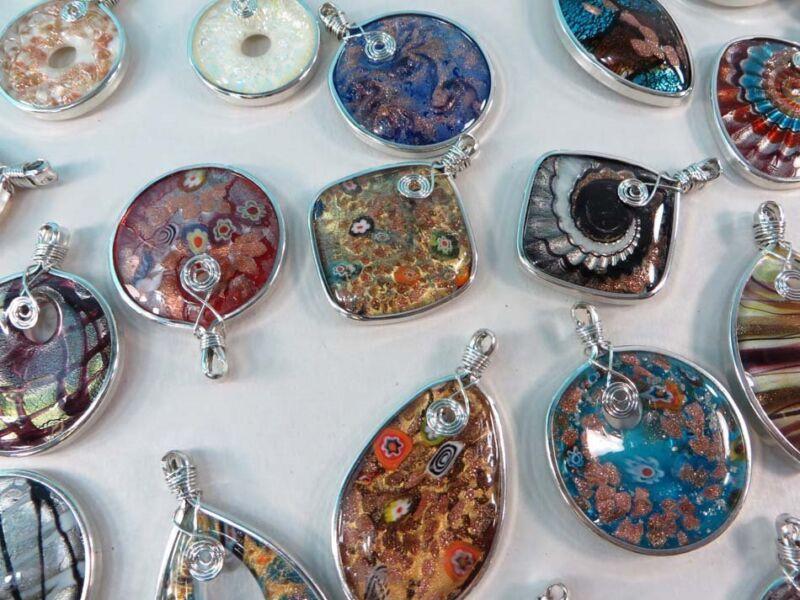 wholesale lot of 10 handmade handblown glass pendants