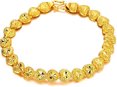 24k Yellow Gold Baby's Bracelet Bangle Linked Chain Of Hearts + Gift Pkg D149B Baby Gold Link Bracelets